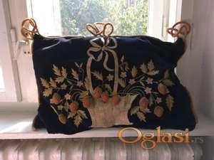Antik ukrasni svileno-plisani jastuci, rucni rad