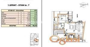 Rotkvarija-FANTASTČAN DVOSOBAN STAN 41 m2 U IZGRADNJI-povraćaj PDV-a