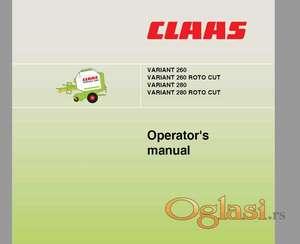 Claas Variant 260 (RC) - 280 (RC) - Uputstvo za rukovanje i održavanje