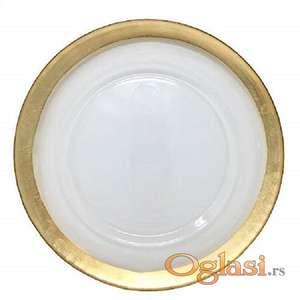 Prodaja staklenih tanjira zlatne i srebrne boje