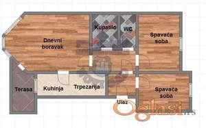 Trosoban stan u izgradnji, stan ima dva sanitarna čvora.