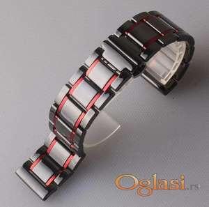 Crna keramička narukvica 22 mm sa crvenim linijama za Samsung smart watch